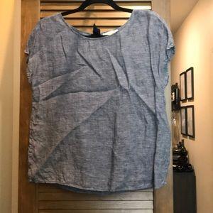 Linen Chambray Short Sleeve Blouse